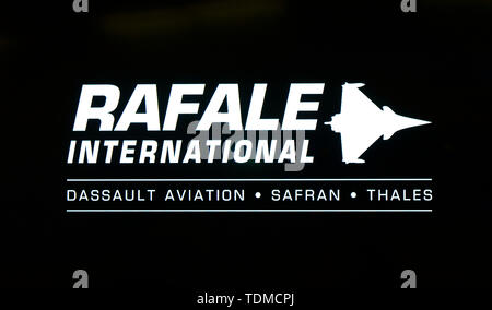 Logo of Rafale International, a business division of French aircraft manufacturer Dassault Aviation, Payerne, Vaud, Switzerland - Stock Image
