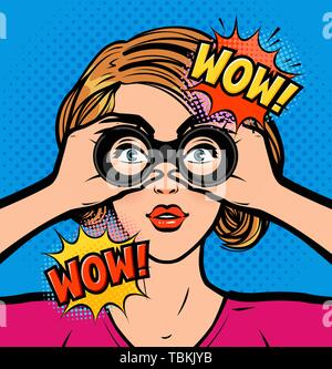 Wow. Sexy surprised woman looking through binoculars. Vector illustration in pop art retro comic style - Stock Image