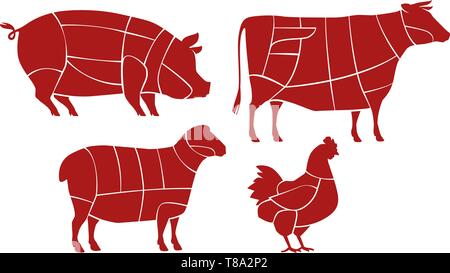 Meat cutting scheme. Butcher shop concept. Farm animals vector - Stock Image