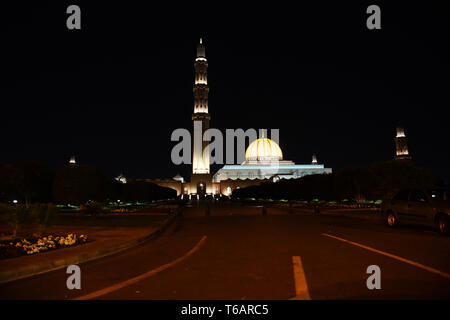 Sultan Qaboos Grand Mosque at night. - Stock Image