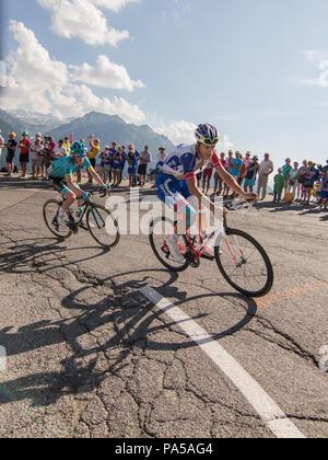 Jesper HANSEN and Arthur Vichot Tour de France 2018 cycling stage 11 La Rosiere Rhone Alpes Savoie France - Stock Image