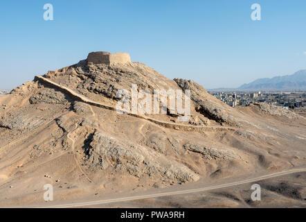 Tower of silence, zoroastrian burial site, Yazd, Iran - Stock Image