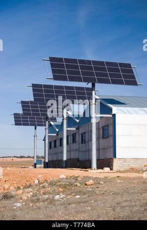 commercial solar power panels in Castilla la Mancha, Spain - Stock Image