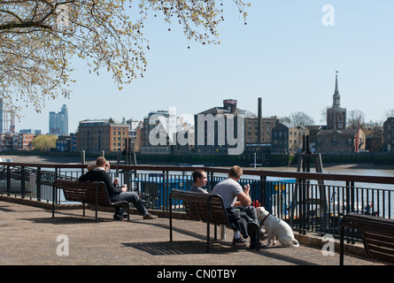View across the river Thames to Rotherhithe, London, England. - Stock Image