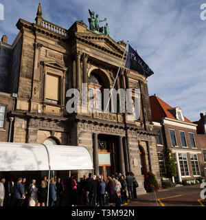 Facade of the Teylers Museum in Haarlem, the Netherlands. The long-established museum has a broad and eclectic collection. - Stock Image