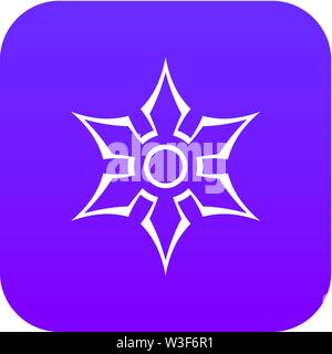 Ninja shuriken star weapon icon digital purple - Stock Image