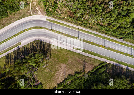 Highway road trough the forest turn aerial high angle view. Bright summer image at sunny day - Stock Image