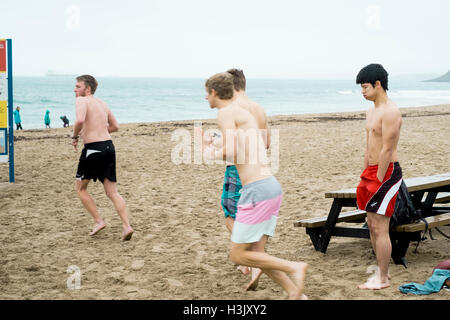 Four young men going for a swim at Gyllyngvase Beach, Falmouth. One less willing than the other three. 6/12/2016 - Stock Image