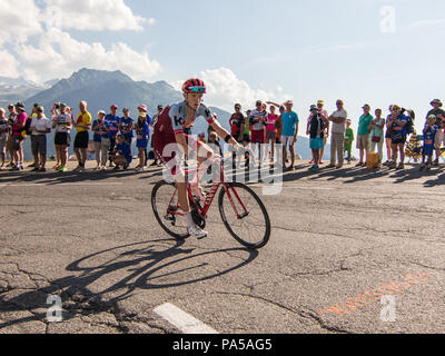 Ian BOSWELL American Cyclist Tour de France 2018 cycling stage 11 La Rosiere Rhone Alpes Savoie France - Stock Image
