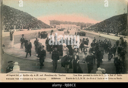 Greek and Italian royalty in the stadium during the Olympic Games, Athens, Greece. - Stock Image