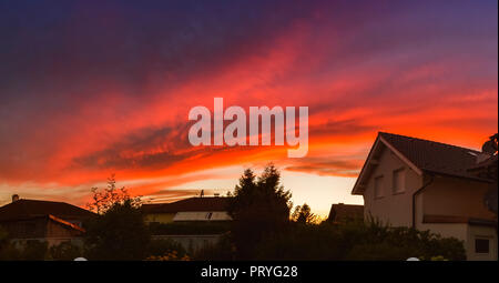 Red sky sunset - Stock Image