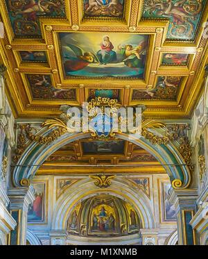 ROME , ITALY- OCTOBER 10, 2017: The Interior of the Basilica of St Bartholomew on Tiber Island - Stock Image