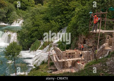 Restoration work at Krka National Park, Croatia - Stock Image
