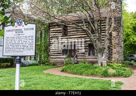 JONESBOROUGH, TN, USA-4/28/19: Christopher Taylor log house, built in 1777. - Stock Image
