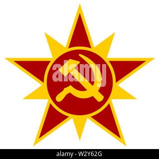 communism star socialism union soviet revolution red yellow  illustration - Stock Image