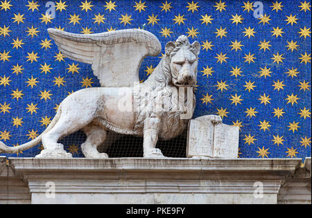 Statue of winged lion, symbol of St. Mark, St. Marks Square; Venice, Italy - Stock Image