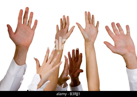 waving hands on isolated background - Stock Image