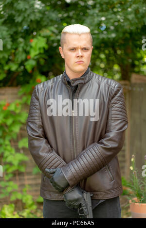 Honiton, UK. 31th July 2018. On the set of drama/sitcom 'Moving In' with Kayleigh-Jade West, Kayleigh-Paige Rees, Will Hawkins & Ashok Lynn-Bertoli. Comedy created by Zandie Thornton. Credit: Thomas Faull/Alamy Live News - Stock Image