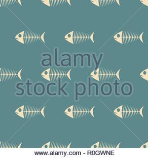 Fish Sceletons Semless Pattern on Blue - Stock Image
