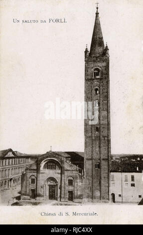 Forli, Romagna, Northern Italy - Basilica Abbey of San Mercurial. - Stock Image