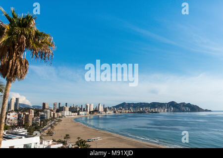 A view of Poniente Beach in Benidorm, Costs Blanca, Spain, sun sea and sand - Stock Image