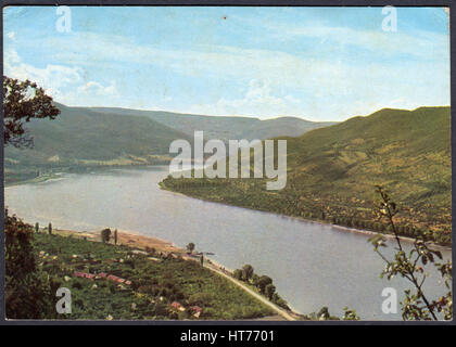 HUNGARY - CIRCA 1970: A postcard printed in Hungary, shows a Bend of the Danube, circa 1970 - Stock Image