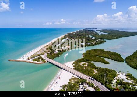 Captiva Island Sanibel Island Florida Gulf of Mexico Turner Blind Pass Beach Park Albright Island Key Preserve Patterson aerial overhead bird's eye vi - Stock Image