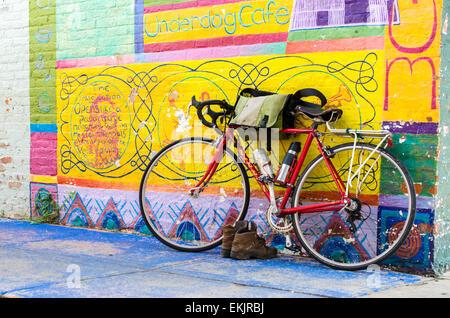 Bicycle traveler in Yellow Springs, Ohio. - Stock Image