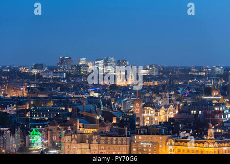 Editorial version of high angle view Amsterdam on city including Zuidas. - Stock Image