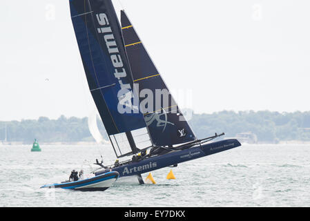 Portsmouth, UK. 23rd July 2015. Artemis Team Sweden gets it wrong on a turn during the Parade of Sail on day one - Stock Image