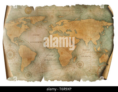 Vintage world map parchment isolated on white - Stock Image