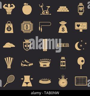 Lawn tennis icons set, simple style - Stock Image