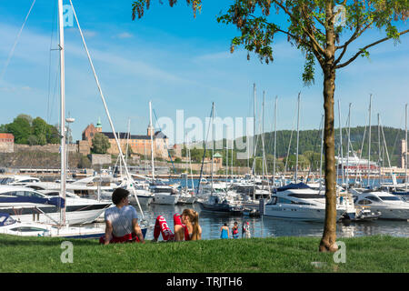 Oslo Marina, view in summer of yachts and boats moored in the marina of Oslo city harbor (Aker Brygge), Norway. - Stock Image