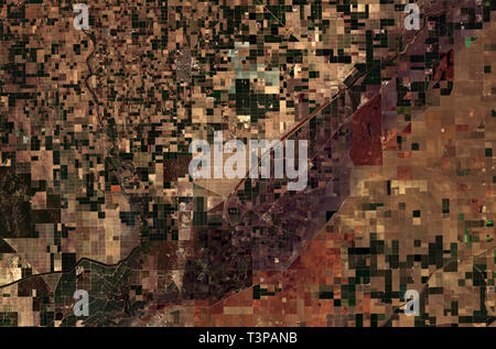 Agricultural patterns in San Joaquin Valley in California seen from space - contains modified Copernicus Sentinel Data (2019) - Stock Image