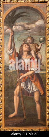 COMO, ITALY - MAY 8, 2015: The painting St. Christhopher in Duomo by Bernardino Luini (1481- 1532). - Stock Image
