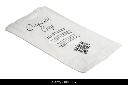 A paper disposal bag for sanitary products and razors etc - Stock Image