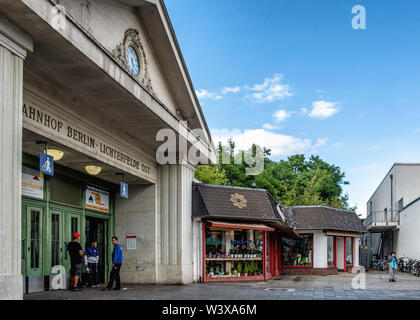 Berlin-Lichterfelde Ost railway station serves the S-bahn And Regional Express lines . Historic building entrance with gable & clock - Stock Image
