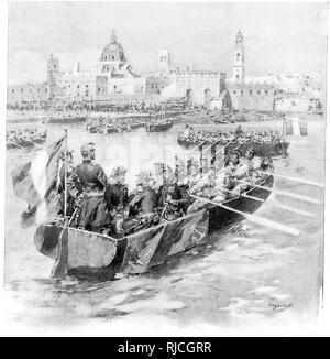 The Allied Troops at Vera Cruz. Several boats row towards the shore of Vera Cruz - Stock Image