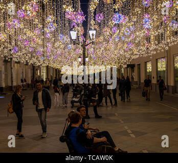 Evening view of Nikolskaya Street Pedestrian Mall near Red Square, Moscow, Russia - Stock Image