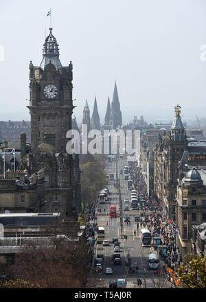 Looking down Edinburgh's Princes Street from Calton Hill, Scotland, UK, Europe - Stock Image