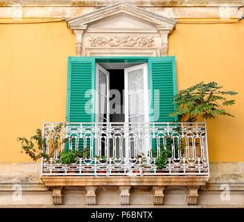 Italy, Apulia, Itria Valley, Martina-Franca, window with a balcony - Stock Image