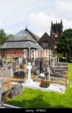Gravestones in the graveyard of  St Peters church, Woolton, Liverpool.  It was at this church where Paul McCartney and John Lennon first met at a Chri - Stock Image