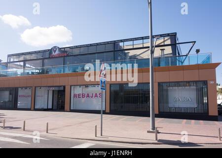Rebajas and Zara shop in Correos, Fuengirola, Spain. - Stock Image