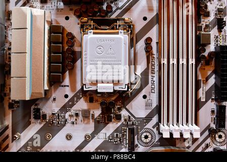 Close up of modern MSi computer motherboard with CPU socket, RAM slot, circuitry with MSi on display at the CES, in Las Vegas, NV, USA. - Stock Image