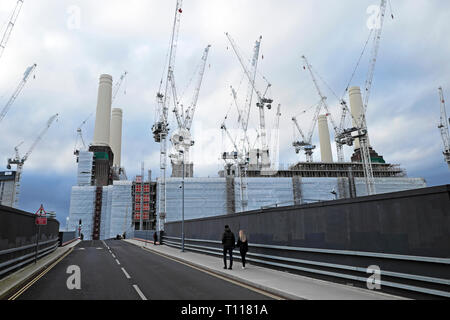 Battersea Power Station under construction during redevelopment & cranes view from walkthrough trail in Wandsworth South London SW8  UK  KATHY DEWITT - Stock Image