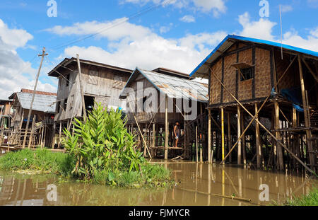 Typical village on the edge of Inlay (Inle) Lake, Myanmar - Stock Image