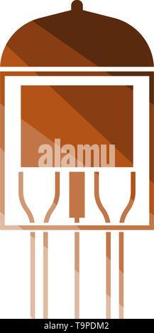 Electronic Vacuum Tube Icon. Flat Color Ladder Design. Vector Illustration. - Stock Image