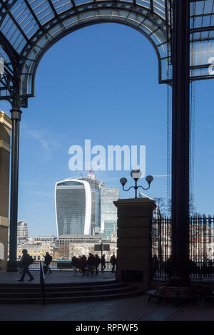 View of the city of London from Hay's galleria shopping arcade on the south bank of the river Thames London England - Stock Image