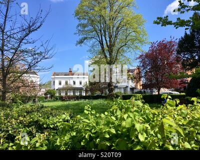 Lansdowne Crescent, a garden square in Spring, surrounded by Regency stucco villas under a blue sky. - Stock Image