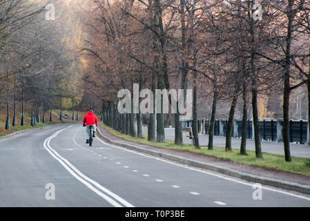 Bicycle asphalt path in the city park on a autumn sunny day - Stock Image